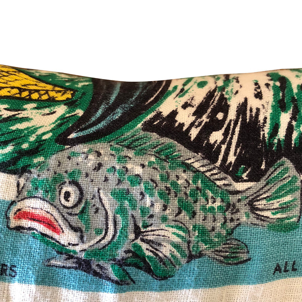 Gold Coast vintage linen teatowel fish detail