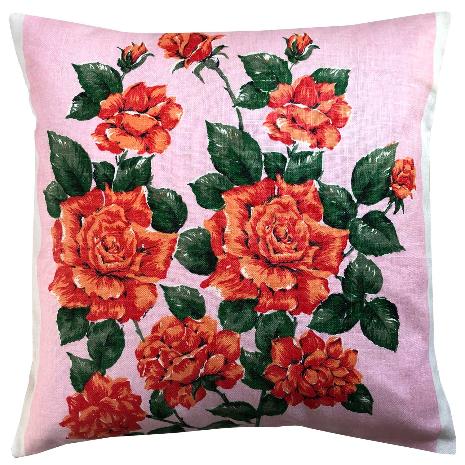 Apricot and orange roses on pink vintage linen cushion cover