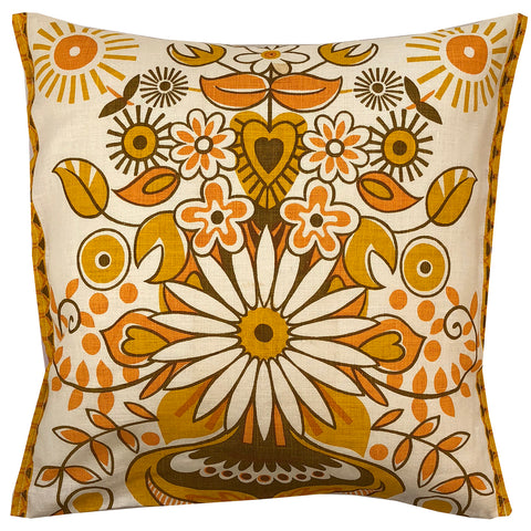 Orange 70s floral teatowel cushion cover
