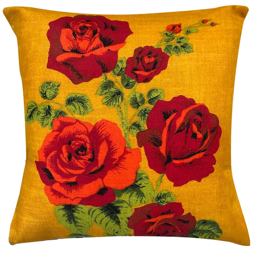 Hello Rosey vintage linen teatowel cushion cover