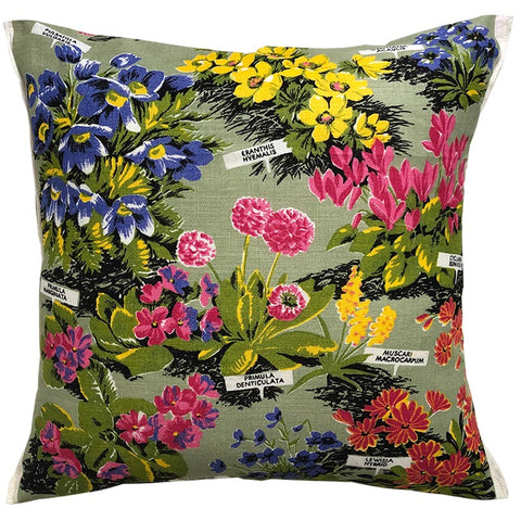 Colourful floral retro cushion cover