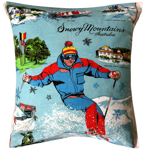 Snowy Mountains vintage linen teatowel cushion cover