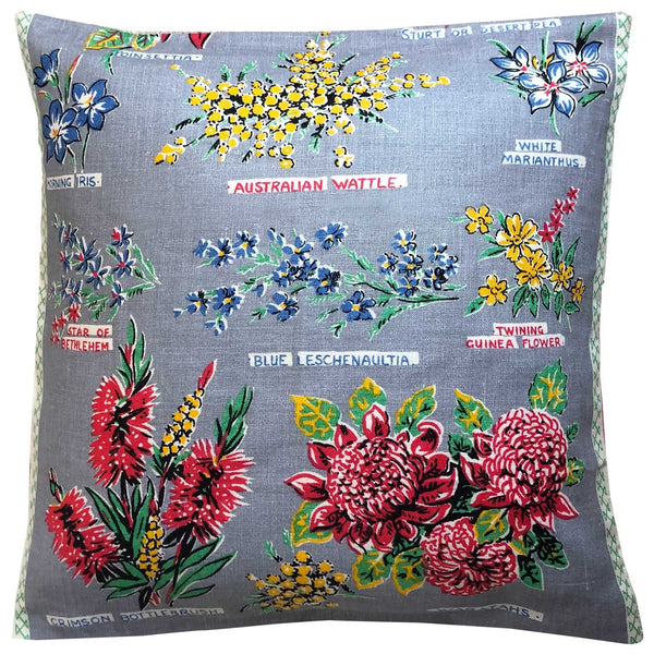 Silver vintage wildflower linen teatowel cushion cover