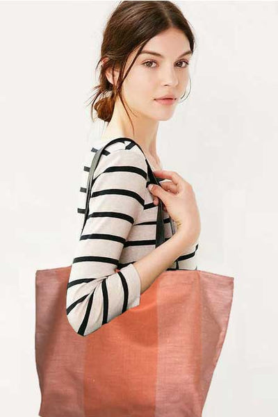 Crisp orange linen stripe teatowel tote
