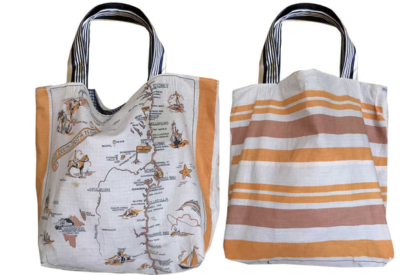 South Coast NSW vintage teatowel tote