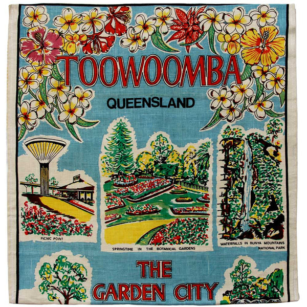 Love And West Toowoomba vintage linen teatowel cushion cover