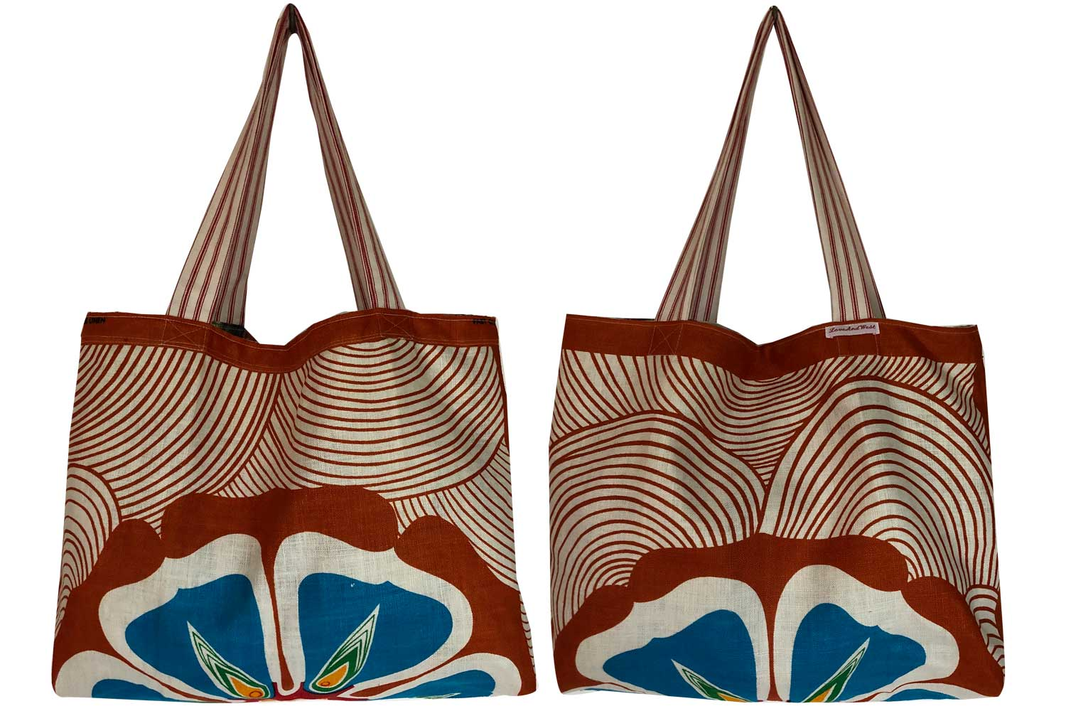Flowers and hillsides teatowel tote