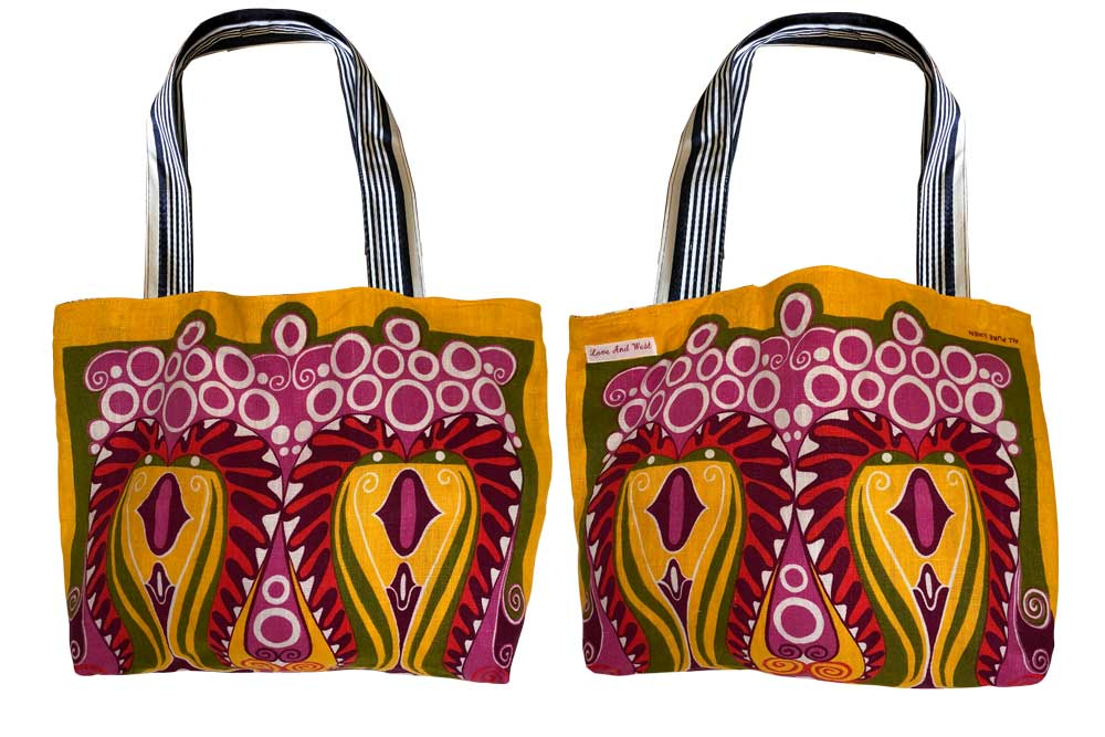 Yellow and pink graphics tote