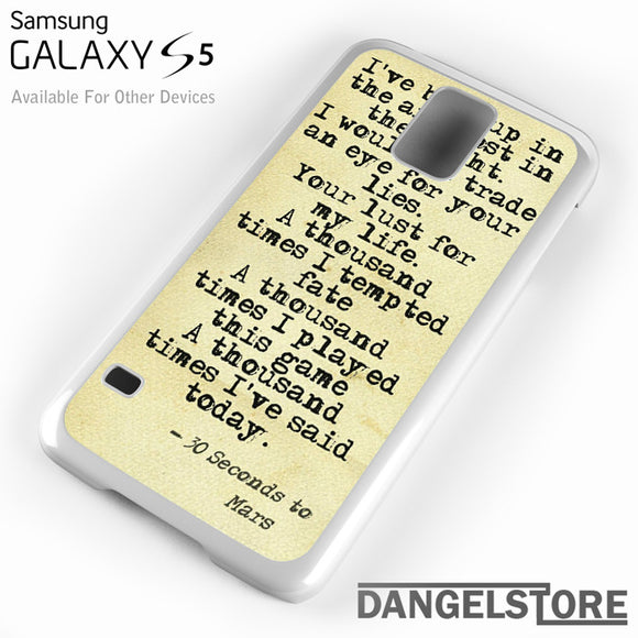 30 Seconds to Mars Lyrics 1 - Samsung Galaxy Case - Samsung S5 Case