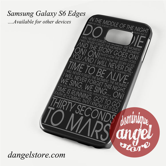 30 Seconds To Mars Lyric Phone Case for Samsung Galaxy S3/S4/S5/S6/S6 Edge