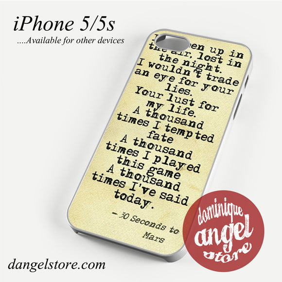 30 Seconds to Mars Lyrics Phone case for iPhone 4/4s/5/5c/5s/6/6 plus