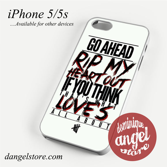 5 Seconds of Summer Lyrics Phone case for iPhone 4/4s/5/5c/5s/6/6 plus