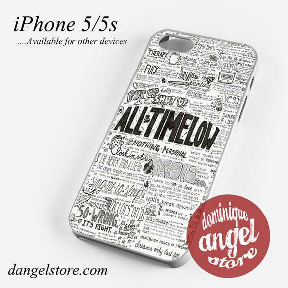 All Time Low Lyrics Phone case for iPhone 4/4s/5/5c/5s/6/6 plus