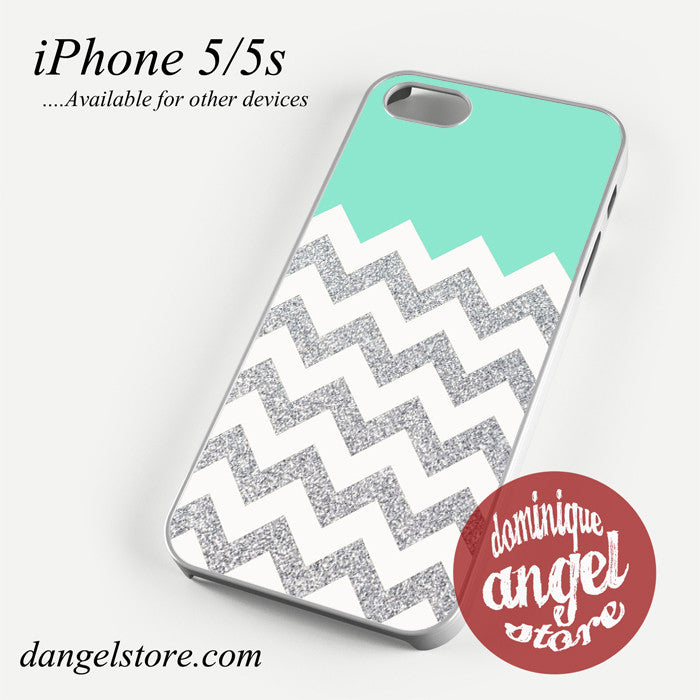 Blue Silver Glitter Chevron Phone case for iPhone 4/4s/5/5c/5s/6/6 plus