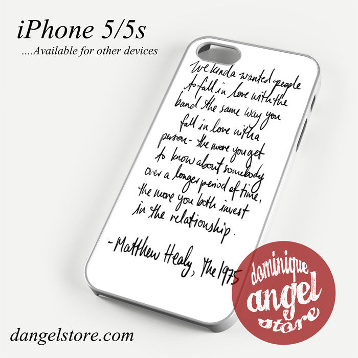Matthew Healy Quotes Phone case for iPhone 4/4s/5/5c/5s/6/6 plus
