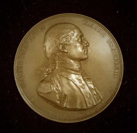 {Sold} 1779 France John Paul Jones, Commander of the American Fleet, Naval Battle off Scotland Coast Beautiful Large Bronze Medal, Official Re-Struck 1950's - 1970's. 55.0 mm