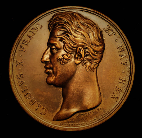 {Sold} 1795 Charles X, King of France - The Royalists Failed Invasion at Quiberon and Execution of King Louis XVI & Queen Marie Antionette, Official Rare Old re-Struck Piece - earlier Edition. Large Bronze Medal, 50 mm.