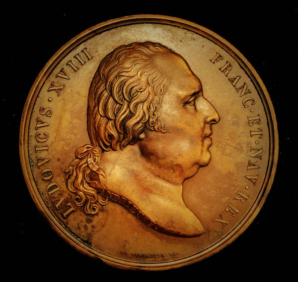 "{Sold} 1820  France Louis XIII, aka The Desired - Birth of Henry, Duke of Bordeaux ""Gift of God"" ""God Given"", Official Rare Old re-Struck Piece - earlier Edition. Large Bronze Medal, 50 mm 67.3 Grs."