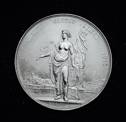 "1851 Old Suisse Confederacy Geneva Schutzenfest Shooting Silver Medal ""Helvetia's Welcomes Geneva's Joining the Confederacy"", Thaler 38 mm Mintage < 300."