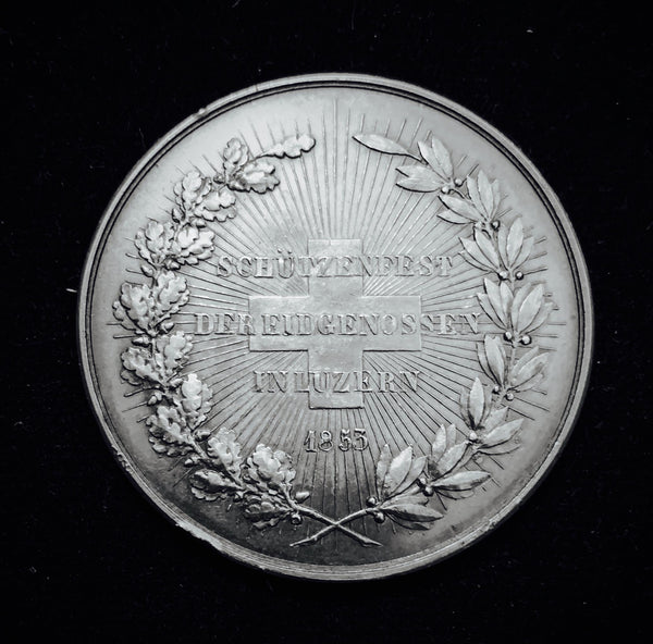 "1853 Old Suisse Confederacy Luzern Schutzenfest Shooting Silver Medal ""The Fallen Suisse Hero - Arnold von Winkelreid of the Battle of Sempach"", Thaler 41 mm Mintage < 350."