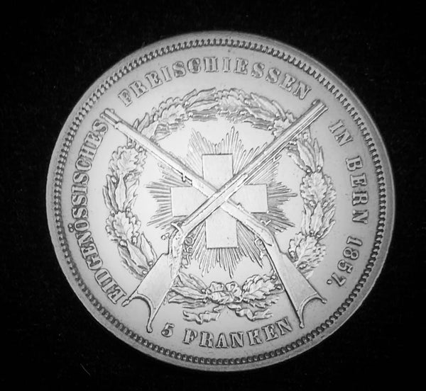 "1857 Old Suisse Confederacy Bern Schutzenfest Shooting Thaler 5-Francs Silver Coin, ""Suisse Sharpshooter - Honour is my Highest Goal"" Mintage. < 750 (Book Ref.: Richter 181a), 37 mm. Ex.Rare."