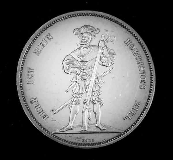 "{Sold} 1857 Old Suisse Confederacy Bern Schutzenfest Shooting Thaler 5-Francs Silver Coin, ""Suisse Sharpshooter - Honour is my Highest Goal"" Mintage. < 750 (Book Ref.: Richter 181a), 37 mm. Ex.Rare."
