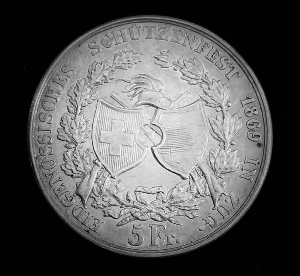 "{Sold} 1869 Old Suisse Confederacy Zug Schutzenfest Shooting Thaler 5-Francs Silver Coin, ""Hans Landwing Saves the Banner at Battle of Arbedo - 1422"" Mintage. < 750 (Book Ref.: Richter 1671b), 37 mm. Ex.Rare."