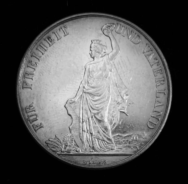 "1872 Old Suisse Confederacy Zurich Schutzenfest Shooting Thaler 5-Francs Silver Coin, ""Allegory of Zurich Bestows the Winner's Wreath"" Mintage. < 1'000 (Book Ref.: Richter 1731b), 37 mm. Ex.Rare."