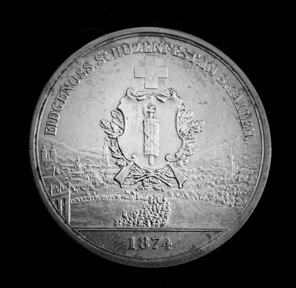 "1874 Old Suisse Confederacy St. Gallen Schutzenfest Shooting Thaler 5-Francs Silver Coin, ""400th Anniversary of the Burgundian Wars 1474-1476"" Mintage. < 1'250 (Book Ref.: Richter 1156a), 37 mm. Ex.Rare."