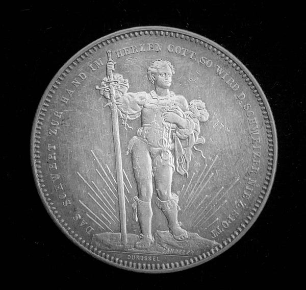 "{Sold} 1879 Old Suisse Confederacy Basel Schutzenfest Shooting Thaler 5-Francs Silver Coin, ""Oath of the Young Swiss with Long Sword"" Mintage. < 2'500 (Book Ref.: Richter 92b), 37 mm. Ex.Rare."