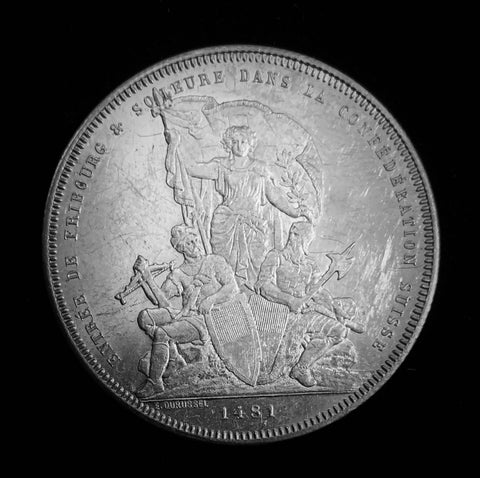 "{Sold} 1881 Old Suisse Confederacy Fribourg Schutzenfest Shooting Thaler 5-Francs Silver Coin, ""400th Anniversary Fribourg & Solothurn Joins Confederacy"" Mintage. < 2'500 (Book Ref.: Richter 1671b), 37 mm. Ex.Rare."