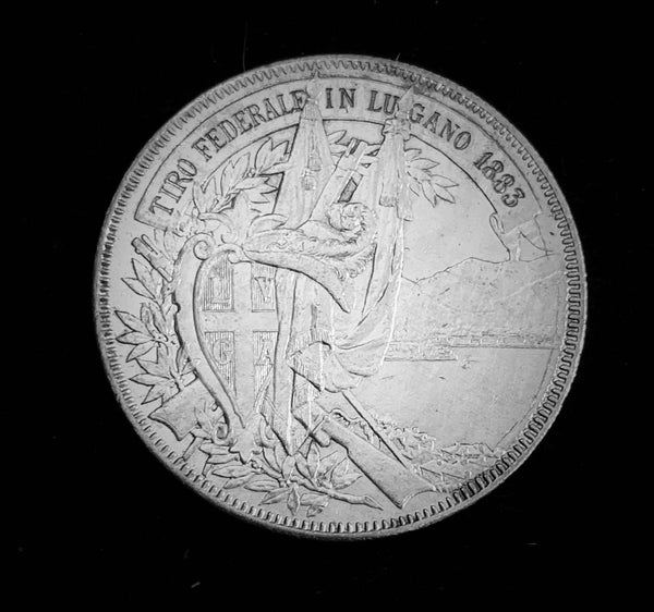 "{Sold} 1883 Old Suisse Confederacy Ticino Lugano Schutzenfest Shooting Thaler 5-Francs Silver Coin, ""The Old Man of Gotthard Massif"" Mintage. < 2'500 (Book Ref.: Richter 1373a), 37 mm. Ex.Rare."