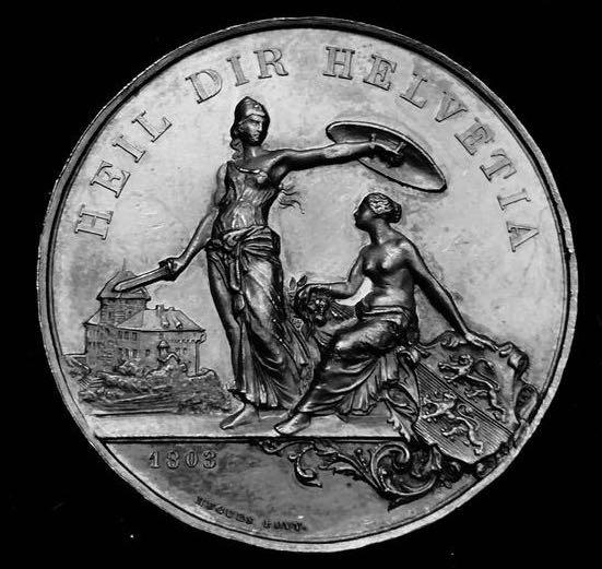 "1890 Old Suisse Confederacy Thurgau Frauenfeld Silver Shooting  Medal ""Helvetia the Protector!"" Exceptional Sharp Reliefs! Great Condition XF-AU, Toned. Large 45 mm 38.6 Grs. Catalogue: Richter 1250-B, Mintage < 750 Only, Rare! Beautiful Old Artwork!"