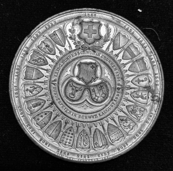 "{Sold} 1891 Old Suisse Confederacy 600th Year Anniversary 1291 - 1891 ""Rütlischwur Oath of Everlasting Unity & Eternal Brotherhood"" Large White-Metal Medal, 50 mm."