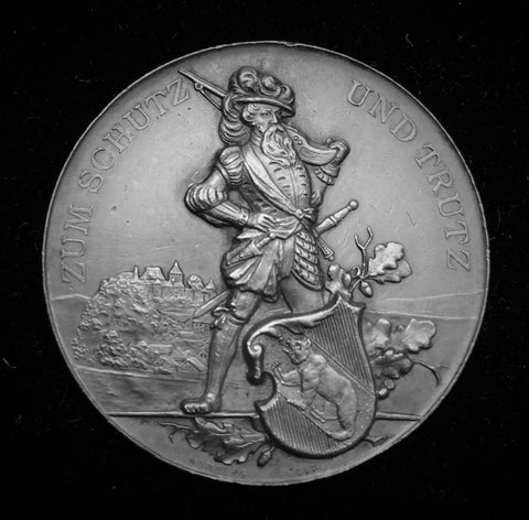 "1891 Old Suisse Confederacy Berne Burgdorf Schützenfest Shooting Silver Medal ""The Bearded Musketeer"", 45 mm Mintage < 250."