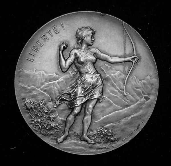 "{Sold} 1896 Old Suisse Confederacy Geneva Schutzenfest Shooting Silver Medal ""Indomitable Archery Maiden"", 45 mm Mintage < 250."