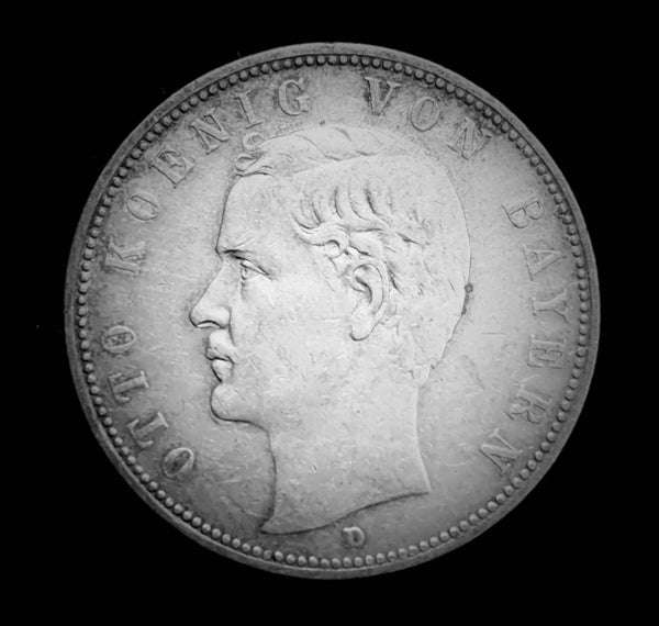 {Sold} 1913 German Empire Kingdom of Bavaria - King Otto I 5-Marks Beautiful Large Silver Coin, Attractive Great Condition V.Scarce.