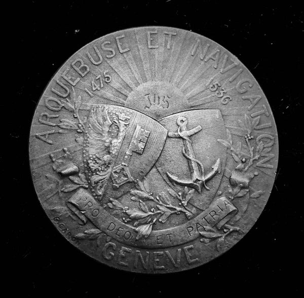 "{Sold} 1919 Old Suisse Confederacy Geneva Schutzenfest Shooting  Silver Medal ""The Kneeling Sharpshooter"", 45 mm Mintage < 50!"