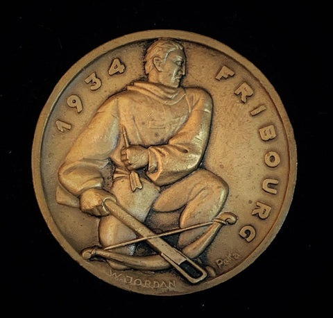 "1934 Suisse Confederacy Fribourg Schutzenfest Shooting  Bronze Medal ""Suisse Sharpshooter"", 50 mm Mintage < 500."