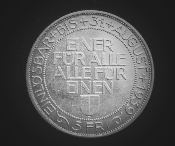"1939 Switzerland Confederation Lucerne Cantonal 5-Francs Silver ""Sharpshooter"" Shooting Thaler Coin, 33 mm Mintage < 2'500."