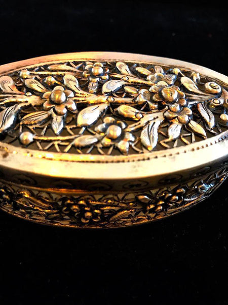 {Sold} circa. 1950's-1960's Old Straits Chinese Peranakan Beautiful & Exquisite, Silver Antique Tobacco Box.