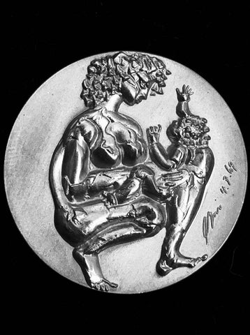 "1969 Switzerland ""The Lovers & Mother with Child"" Hans Erni Silver Medal."