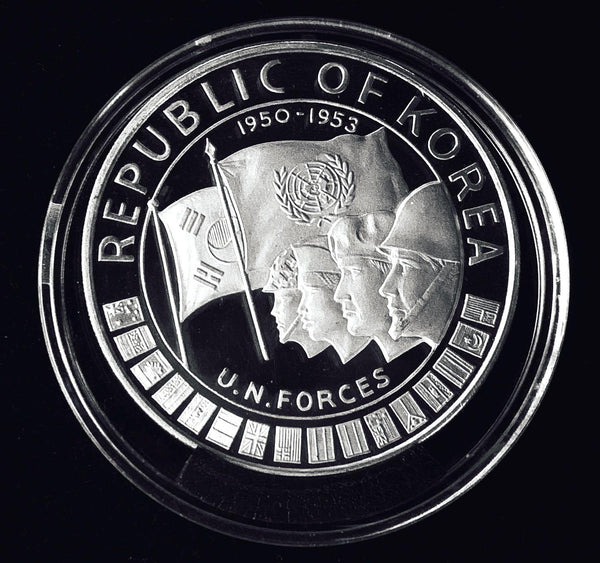 1970 South Korea United Nations Forces & Korean War 1'000 Won Silver Proof Coin.