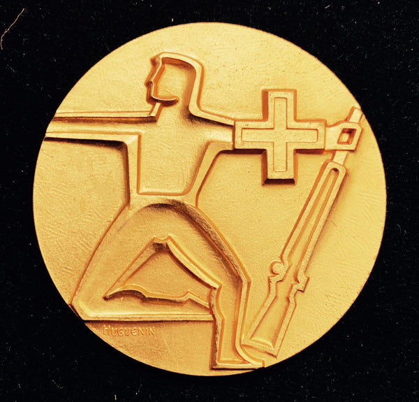 "1970 Suisse Confederacy Zurich - ""Suisse Shooter"" Schützenfest Shooting Bronze-Gilt Golden Medal, Mint Condition Large 50 mm."