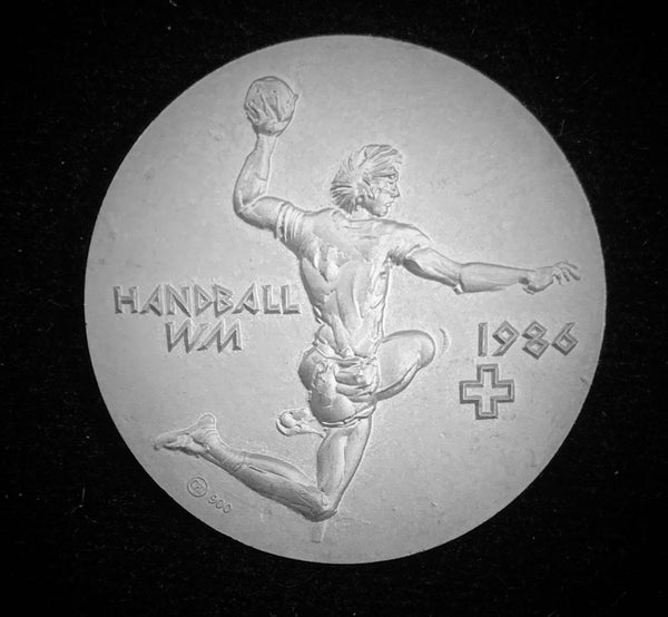 "1985 Switzerland ""World Men's Handball Championships"" Hans Erni Silver Medal."