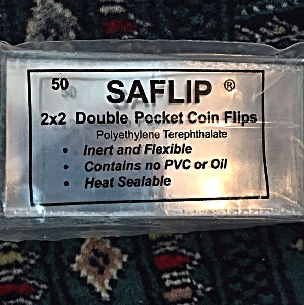 "SAFLIP - 50 Pieces 2"" X 2"" Double Pocket Coin Flips, ""Museum Use"", USA Premium Grade - Emporium Antiquities"