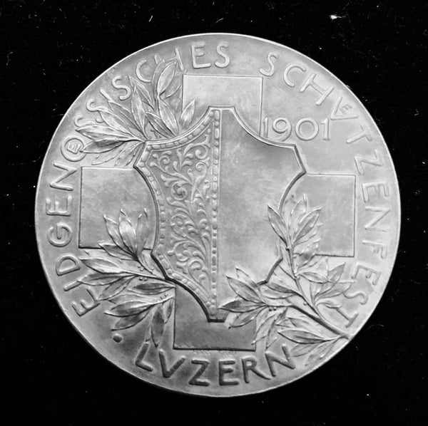 "{Sold} 1901 Old Suisse Confederacy Luzern Schützenfest Shooting Silver Medal ""Helvetia the Protector"", 45 mm Mintage < 750."