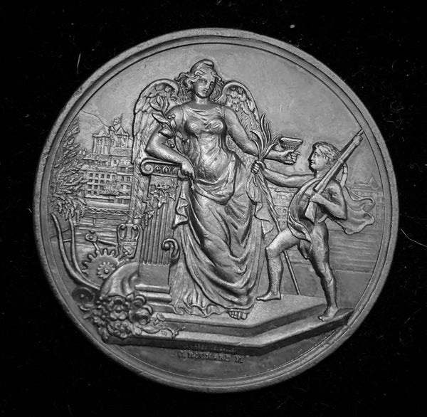 "{Sold} 1882 Old Suisse Confederacy Geneva Schutzenfest Shooting Silver Medal ""Helvetia Salutes the Boy Shooter"", 45 mm Mintage < 50!"