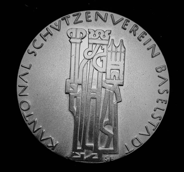 "{Reserved} circa. 1970's Suisse Confederacy Basel Schützenfest Shooting Pure Silver Medal ""Saint Henry II, Holy Roman Emperor & Constructor of Basel Cathedral 1019"", Large 50 mm Hallmarked 800 Silver on Edge."