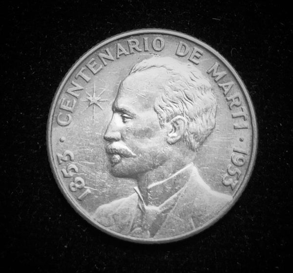 {Sold} 1953 Cuba National Hero Jose Marti - 100th Year Anniversary of Birth 1853-1953, 25-Centavos Minor Silver Coin.